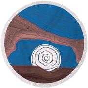 Moonscape Original Painting Round Beach Towel