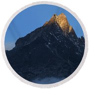 Moonset And Alpenglow Over A Snow Peak Round Beach Towel