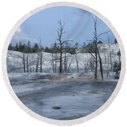 Moonset At Mammoth Terrace-yellowstone Round Beach Towel