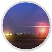 Moonset Over The Vla Round Beach Towel