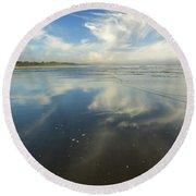 Moonstone Beach Reflections Round Beach Towel
