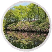 Moore State Park Water Reflections Round Beach Towel