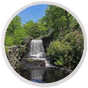 Moore State Park Waterfall 3 Round Beach Towel