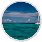Moorea Lagoon No 16 Round Beach Towel