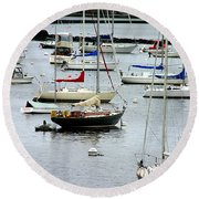 Moored At Kittery Point Maine Round Beach Towel