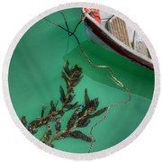 Moored Boat And Kelp Round Beach Towel