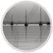 Moored Tranquility Round Beach Towel