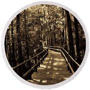 Moores Creek Battlefield Nc Swamp Walk  Round Beach Towel