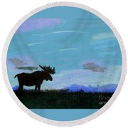 Moose - At - Sunset Round Beach Towel