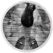 Moose Cabin Round Beach Towel