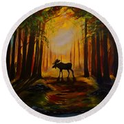 Moose Hideout Round Beach Towel