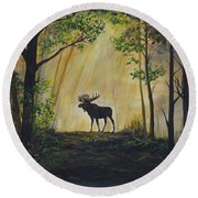 Moose Magnificent Round Beach Towel