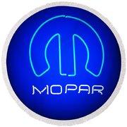 Mopar Neon Sign Round Beach Towel