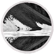Moraine Lake Abstract - Black And White #2 Round Beach Towel