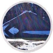 Moraine Lake Lens Flare Round Beach Towel