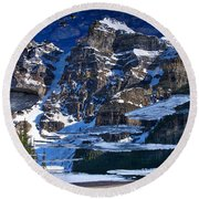 Moraine Lake Reflection Abstract Round Beach Towel