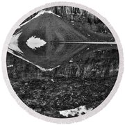 Moraine Lake Reflections - Black And White Round Beach Towel