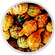 More Beautiful Gourds - Heralds Of Fall Round Beach Towel