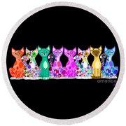 More Colorful Kitties Round Beach Towel