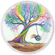 More Rainbow Tree Dreams Round Beach Towel