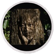 Morgan Freeman Roots Digital Painting Round Beach Towel by Georgeta Blanaru