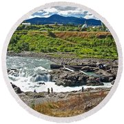 Moricetown Falls And Canyon Fishing Operation On The Bulkley River In Moricetwown-british Columbia  Round Beach Towel