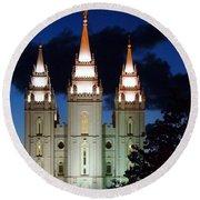 Mormon Temple Lds Utah Round Beach Towel