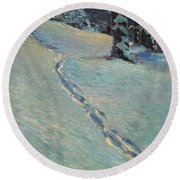 Morning After Snow Round Beach Towel