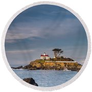 Morning At Battery Point Lighthouse Round Beach Towel