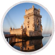 Morning At Belem Tower In Lisbon Round Beach Towel