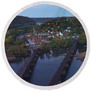 Morning At Harpers Ferry Round Beach Towel