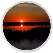 Morning At The Marsh Round Beach Towel