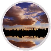 Morning At The Reservoir New York City Usa Round Beach Towel