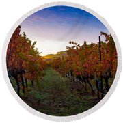 Morning At The Vineyard Round Beach Towel by Bill Gallagher