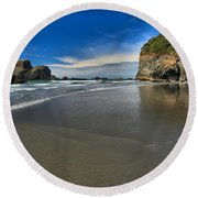 Morning Beach Reflections Round Beach Towel