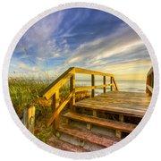 Morning Beach Walk Round Beach Towel by Debra and Dave Vanderlaan