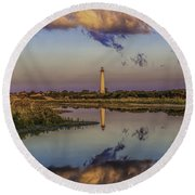 Morning Clouds At Cape May Light Round Beach Towel