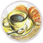 Morning Coffee- With Croissants Round Beach Towel