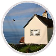 Morning Cottage At Lyme Regis Round Beach Towel