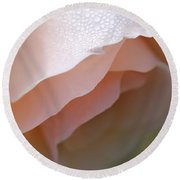Morning Dew Peach Rose Flower Round Beach Towel