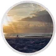 Morning Exercise  Round Beach Towel