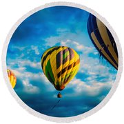 Morning Flight Hot Air Balloons Round Beach Towel