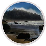 Morning Fog Burn Round Beach Towel