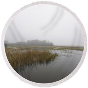Morning Fog Round Beach Towel