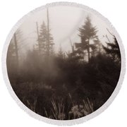 Morning Fog In The Smoky Mountains Round Beach Towel by Dan Sproul