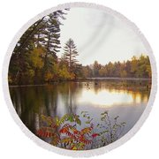 Morning Fog On The Lake Round Beach Towel