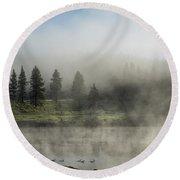 Morning Fog On The Yellowstone Round Beach Towel