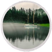 Morning Fog Round Beach Towel by Robert Bales