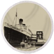 Morning Fog Russian Sub And Queen Mary Heirloom Round Beach Towel