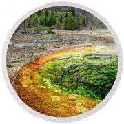 Morning Glory Pool - Yellowstone Round Beach Towel